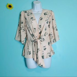 WAYF Floral Button Fown Front Tie Cream Blouse